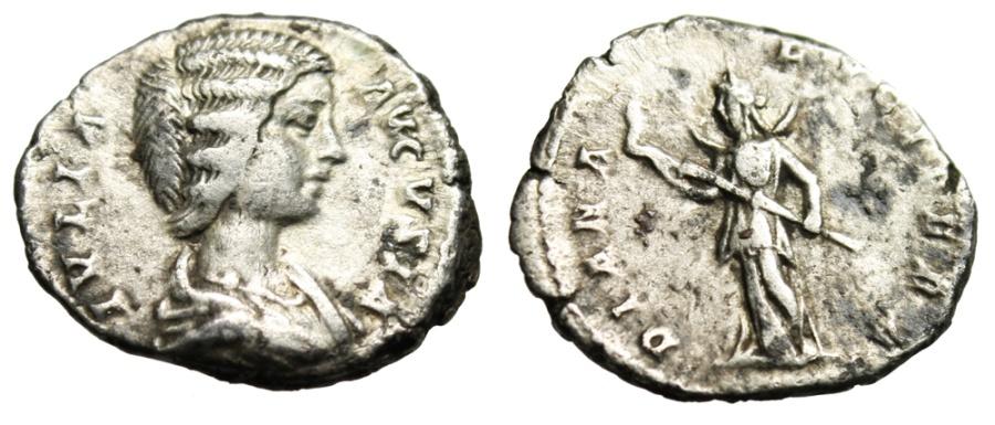"Ancient Coins - Julia Domna Silver Denarius ""DIANA LVCIFERA Diana With Torch"" RIC 548 Scarce"