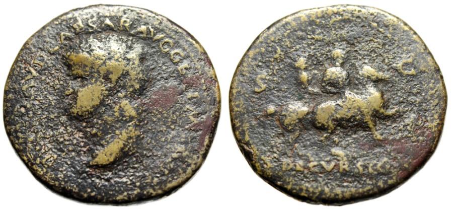 "Ancient Coins - Nero Sestertius ""DECVRSIO Emperor & Soldier on Horses, Bust Left"" RIC 168 Budget"