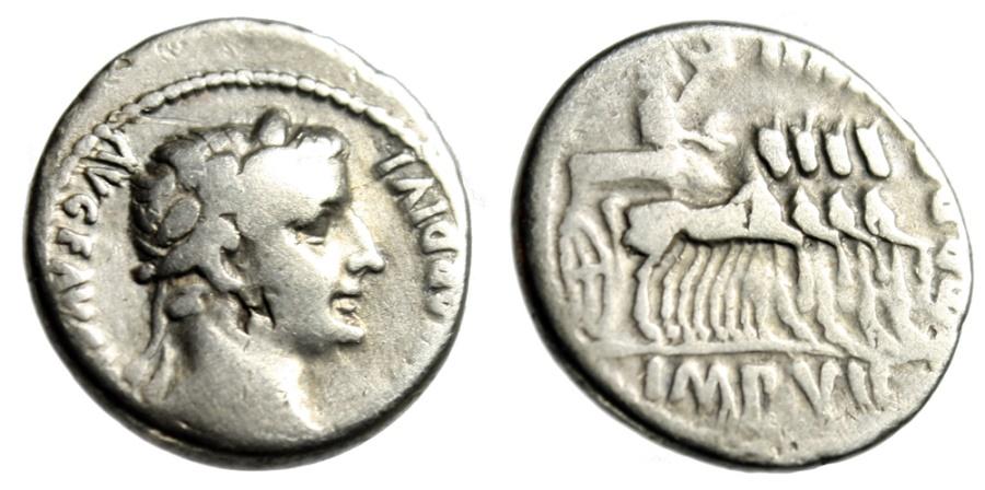 """Ancient Coins - Tiberius Silver Denarius """"Emperor in Triumphal Quadriga"""" Lyons RIC 4 Scarce Fine"""