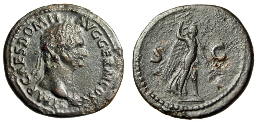 """Ancient Coins - Domitian AE As """"Victory Holding Aquila"""" Rome Mint 84 AD RIC 230 Rare"""