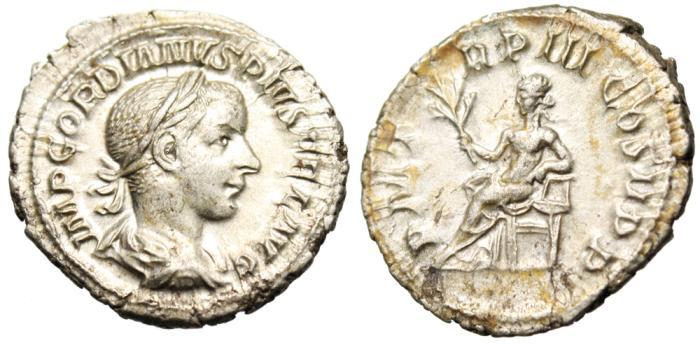 "Ancient Coins - Gordian III Silver AR Denarius ""Apollo Seated"" Rome RIC 114 EF"