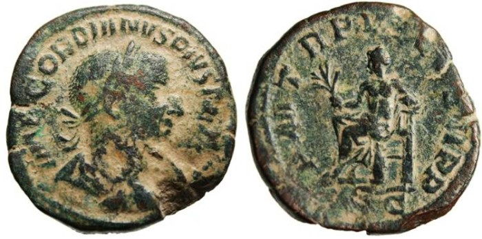 "Ancient Coins - Gordian III AE Sestertius ""Apollo Seated"" Rome RIC 303a VF"