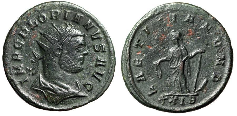 """Ancient Coins - Florian AE Antoninianus """"Laetitia, Anchor"""" Rome 276 AD RIC 34 VF"""