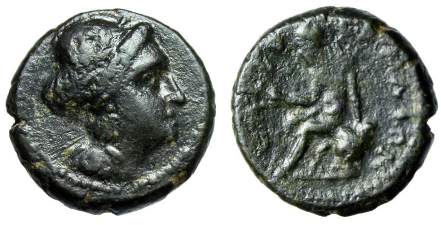 """Ancient Coins - Crete, Eleuthernai (Eleutherna) AE16 """"Apollo Seated on Omphalos"""" Very Rare"""