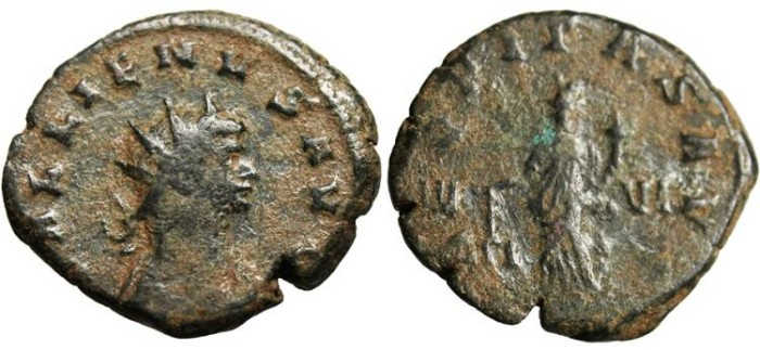 "Ancient Coins - Gallienus AEQVITAS AVG ""Aequitas With Scale"" Rome Gobl 500q VF"