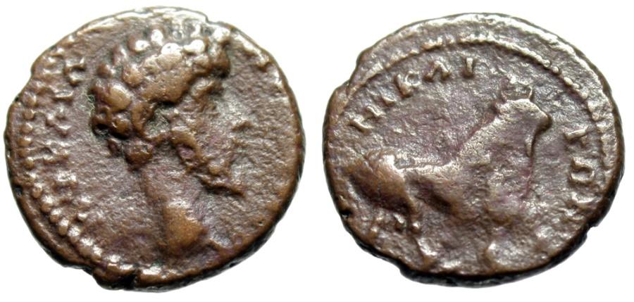 "Ancient Coins - Marcus Aurelius AE18 ""Apis Bull Standing"" Bithynia, Nicaea 161-180 AD Scarce"