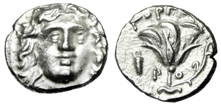"Ancient Coins - Islands off Caria, Rhodes Silver Drachm ""Helios & Rose, Bowcase"" Gorgos Nice EF"