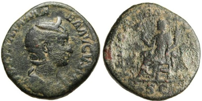 "Ancient Coins - Julia Mamaea, AE Sestertius ""Felicitas Seated"" RIC 679"
