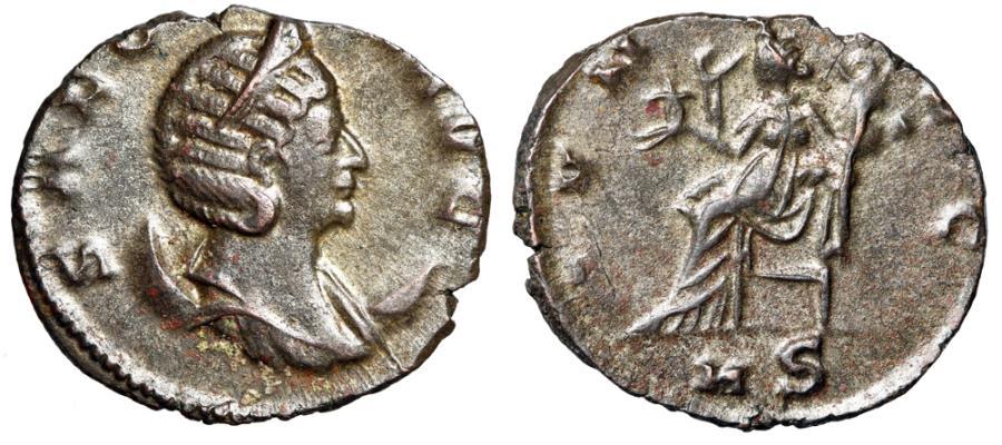 """Ancient Coins - Salonina Silvered Antoninianus """"IVNO AVG Juno Seated, MS"""" Milan RIC 62 Scarce"""