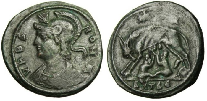 "Ancient Coins - Rome City Commemorative, AE3 ""Roma & She-Wolf Suckling"" Thessalonica"