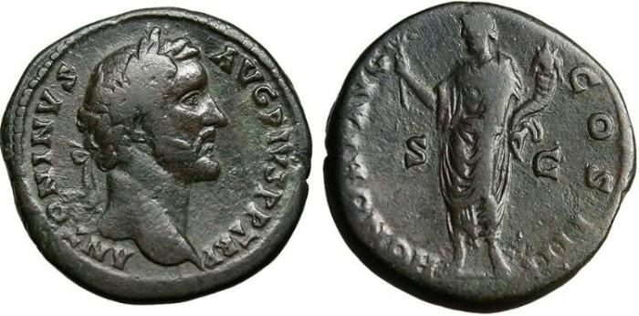 """Ancient Coins - Antoninus Pius, AE Sestertius """"Honos"""" Rome RIC 772 gF"""