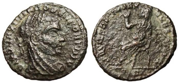 "Ancient Coins - Maximian, Posthumous AE3 ""Seated on Curule Chair"" Siscia RIC 41 Rare"