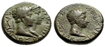 """Ancient Coins - Augustus & Rhoemetalkes I AE21 """"Conjoined King & Queen of Thrace Bust"""" Near VF"""