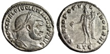 "Ancient Coins - Diocletian Silvered Follis ""GENIO POPVLI ROMANI Genius"" Heraclea RIC 19a nEF"