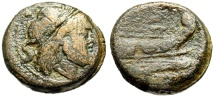"""Ancient Coins - Roman Republic Anonymous AE Semis """"Saturn & Prow of Galley"""" Italian Mint gF"""