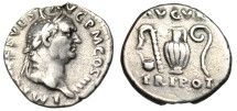 "Ancient Coins - Vespasian Silver Denarius ""AVGVR TRI POT Priestly Implements"" RIC 42 VF Choice"