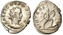 "Ancient Coins - Gallienus Silver Antoninianus ""VIRT GALLIENI AVG Trampling Enemy"" Cologne VF"