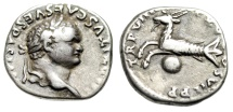 "Ancient Coins - Titus Silver Denarius ""Capricorn over Globe"" Rome 79 AD RIC 19 Scarce Nice VF"