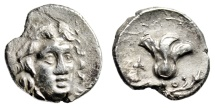 "Ancient Coins - Caria, Rhodes Silver Drachm ""Helios & Rose Flower, Head of Griffin"" Very Rare VF"
