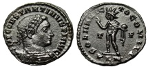 """Ancient Coins - Constantine I The Great AE Follis """"Sol With Globe"""" London Mint 310 AD RIC 122 EF"""