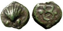 "Roman Republic Aes Grave Sextans ""Cockle Shell (Sea-Shell) & Caduceus"" nEF Green"