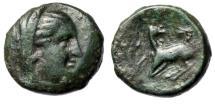"""Ancient Coins - Ionia, Ephesos (Ephesus) AE16 """"Veiled Arsinoe II & Stag kneeling, Astragalos"""""""