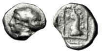 """Ancient Coins - Troas, Assos Silver Hemiobol """"Nymph & Griffin Head in Rectangle"""" Very Rare"""