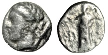 "Ancient Coins - Thessaly, Pherai AR Hemidrachm ""Ennodia, Torch & Nymph Hypereia"" Toned Fine"
