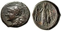 """Ancient Coins - Bruttium, Rhegion AE Pentonkia """"Athena , Griffin & Athena Nikephoros"""" Rare"""