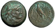 "Ancient Coins - Ptolemaic Kingdom: Ptolemy III AE26 ""Alexander, Elephant Headdress & Eagle"" gVF"