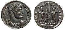 """Ancient Coins - Constantine I The Great AE18 """"GLORIA EXERCITVS Soldiers"""" Antioch RIC 86 Good EF"""