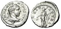 """Ancient Coins - Elagabalus Silver Denarius """"LAETITIA PVBL Laetitia, Rudder"""" RIC 95b Near EF"""