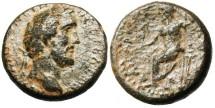 """Ancient Coins - VF Antoninus Pius AE18 """"Zeus Seated"""" Cappadocia Caesarea Scarce"""
