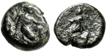 "Ancient Coins - Arkadia, Orchomenos Dichalkon ""Artemis & Kallisto Shot With Arrow, Arkas"" Rare"