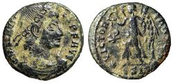 """Ancient Coins - Constantius II AE16 """"VICTORIA AVGG Victory, Chi-Rho"""" Siscia Rare Variety"""