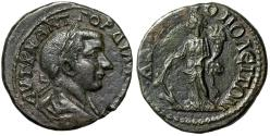 """Ancient Coins - Gordian III AE26 of Hadrianopolis, Thrace """"Tyche, Rudder & Cornucopia"""" About EF"""
