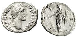 "Ancient Coins - Antoninus Pius Silver Denarius ""Fortuna With Rudder"" Rome RIC 179 Good VF"