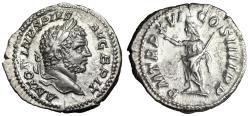 "Ancient Coins - Caracalla AR Denarius ""Serapis in Salute"" Rome 213 AD Good VF"