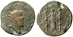 """Ancient Coins - Postumus Double Sestertius """"Fides Holding Standards"""" Lyons RIC 123 nVF Scarce"""