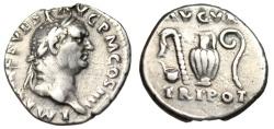 "Ancient Coins - Vespasian Silver Denarius ""AVGVR TRI POT Priestly Implements"" RIC 42 VF Choice"