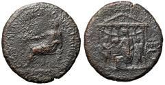 """Ancient Coins - Caligula (Gaius) AE Sestertius """"Emperor by Temple, Two Attendants"""" Rome 40-41 AD"""