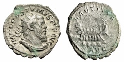 "Ancient Coins - Postumus Silver Antoninianus ""LAETITIA AVG Galley, Boat"" Trier RIC 73 Scarce VF"