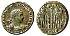 """Ancient Coins - Constantine II AE18 """"GLORIA EXERCITVS Soldiers"""" Nicomedia RIC 189 Olive Green"""