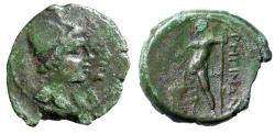 "Ancient Coins - Bruttium, Rhegion AE17 ""Jugate Dioscuri & Asklepios by Altar"" Rare"