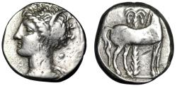 "Ancient Coins - Zeugitania, Carthage AR Half Shekel ""Tanit & Horse by Palm"" Punic War Very Rare"