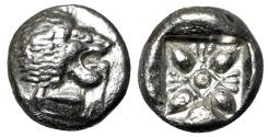 "Ancient Coins - Ionia, Miletos AR Diobol ""Forepart Lion & Stellate, Star"" Near EF"