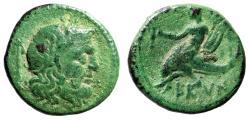 """Ancient Coins - Calabria, Brundisium AE Sicilius (1/4 Uncia) """"Neptune & Taras Dolphin"""" Very Rare"""