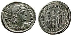 "Ancient Coins - Constantine I The Great AE17 ""GLORIA EXERCITVS Soldiers"" Heraclea RIC 150 EF"