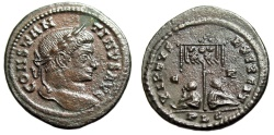 """Ancient Coins - Constantine I The Great AE3 """"VIRTVS EXERCIT Captives, Standard"""" Lyons RIC 113"""