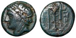 "Ancient Coins - Campania, Neapolis AE14 ""Male Portrait & Tripod"" Blue-Green Patina gF"